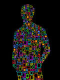 Man silhouette made with Cellphones & Smartphones Stock Image