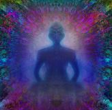Man silhouette meditate, yoga Stock Photo