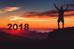 Man silhouette on mountain cliff enjoy panaoramic view. Man watc Royalty Free Stock Photo