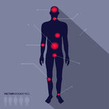 Man silhouette, pain point. Vector medical infographics Royalty Free Stock Photos