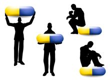 Man Silhouette With Pill Capsules Stock Photo
