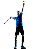 Man silhouette playing tennis player Stock Images