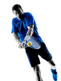 Man silhouette playing tennis player Royalty Free Stock Photos