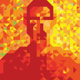 Man silhouette. Profile picture made of triangles in warm colors Royalty Free Stock Image