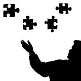 Man silhouette puzzle pieces black stock images