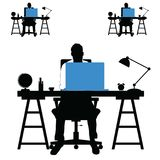 Man silhouette set with laptop and desk illustration Stock Photography