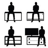 Man silhouette set sitting leisure on stuff illustration Royalty Free Stock Image