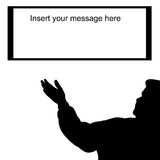Man silhouette  sign your message here Royalty Free Stock Photo