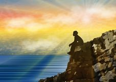 Man silhouette sitting alone on a cliff above water Stock Image
