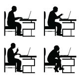 Man silhouette sitting on chair and work on laptop set illustrat Royalty Free Stock Photo