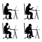 Man silhouette sitting in office chair with laptop illustration Royalty Free Stock Image