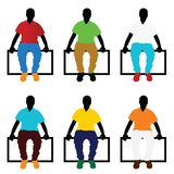 Man silhouette sitting set in color illustration Royalty Free Stock Photos