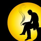 Man Silhouette Smoking Alone. An illustration featuring a man sitting alone and smoking perhaps depressed, lonely, or just relaxing Stock Images