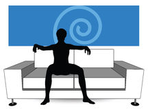 Man silhouette on sofa Royalty Free Stock Images