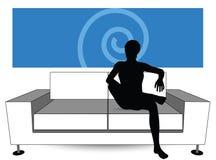 Man silhouette on sofa Stock Photos