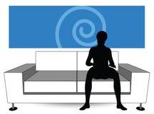 Man silhouette on sofa Royalty Free Stock Photos