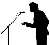 Man silhouette speech to microphone Royalty Free Stock Photography