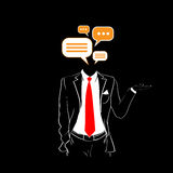 Man Silhouette Suit Red Tie Chat Bubble Dialog Head Social Network. Communication Concept Black Background Contour Outline Vector Illustration Royalty Free Stock Photography