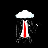 Man Silhouette Suit Red Tie Cloud Head Black Background Stock Photo