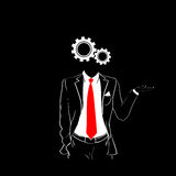 Man Silhouette Suit Red Tie Cog Wheel Head Black Stock Photography