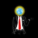 Man Silhouette Suit Red Tie Globe Earth Head Stock Photo
