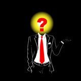 Man Silhouette Suit Red Tie Question Mark Sign Head Black Stock Photos
