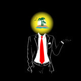 Man Silhouette Suit Red Tie Tropic Island Head Summer Vacation Concept Royalty Free Stock Image