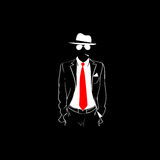 Man Silhouette Suit Red Tie Wear Glasses White Hat Black Stock Images