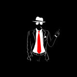 Man Silhouette Suit Red Tie Wear Glasses White Hat Point finger Up Stock Photo