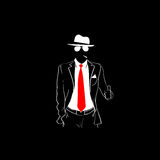 Man Silhouette Suit Red Tie Wear Glasses White Thumb Up Stock Images