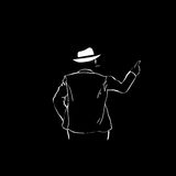 Man Silhouette Suit White Hat Rear View Point Finger To Copy Space Stock Image