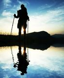 Man silhouette on sunset. For hike Royalty Free Stock Photos