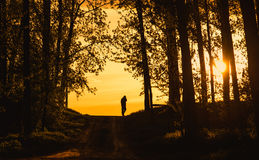 Man silhouette the sunset. Dark toned photo Royalty Free Stock Images
