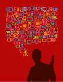 Man silhouette talking Stock Image
