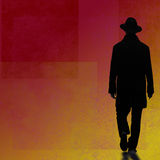 Man silhouette walking on abstract red background Stock Photos