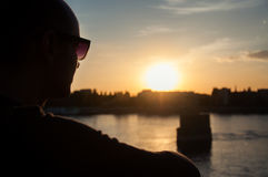 Man silhouette watching the sunset Royalty Free Stock Image