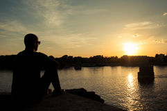 Man silhouette watching the sunset Royalty Free Stock Photo