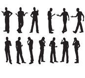 Man silhouettes in vector. In different situations Stock Images