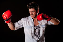 Man simulates boxing Stock Photos