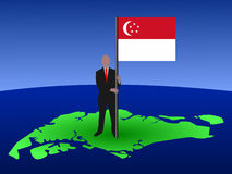 Man with singapore flag Royalty Free Stock Photography