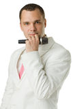 Man Singer with Microphone Isolated. Fashion Portrait - Man Singer with Microphone Isolated Stock Photography