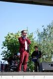 Man singer performs at Sabantui celebration in Moscow stock image