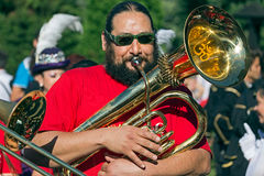Man, singer at trombone from Cile Royalty Free Stock Images
