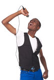 Man singing. Beautiful and handone black man singing Royalty Free Stock Photography