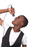 Man singing. Beautiful and handsome black man singing Stock Photography