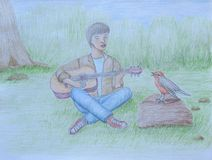 Man singing with bird Stock Images