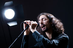 Man singing at the concert Stock Images