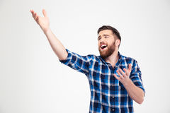 Man singing and gesturing with hands Royalty Free Stock Image