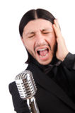 The man singing in the karaoke club Royalty Free Stock Photos