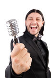 The man singing in the karaoke club Stock Photo